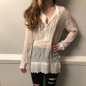 Johnny Was White Eyelet Embroidered Tunic Blouse